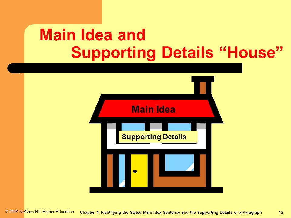 Main Idea and Supporting Details House