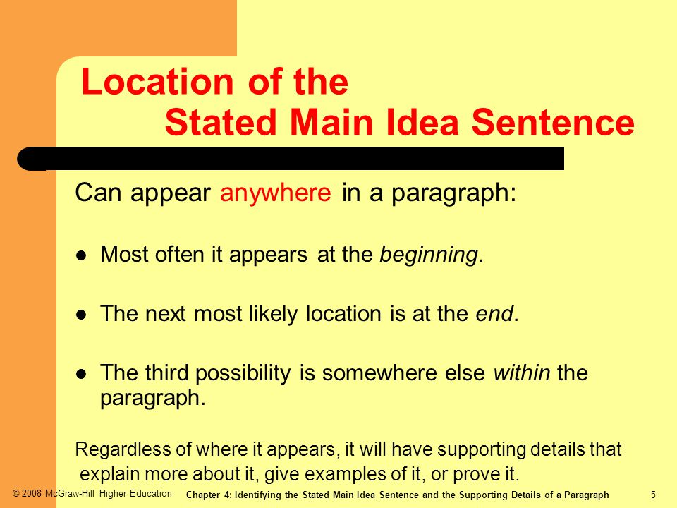 Location of the Stated Main Idea Sentence