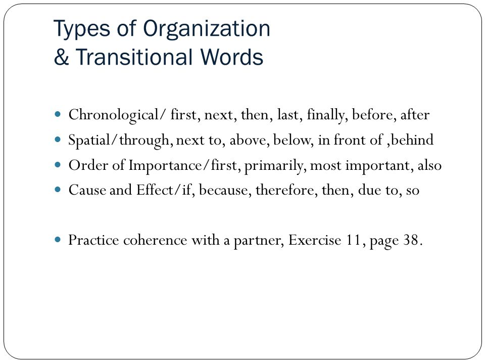 Types of Organization & Transitional Words