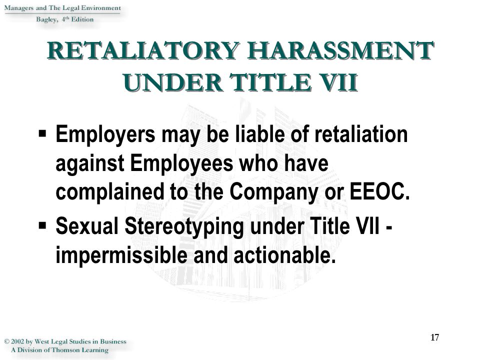 Sexual harassment act title vii enforcer