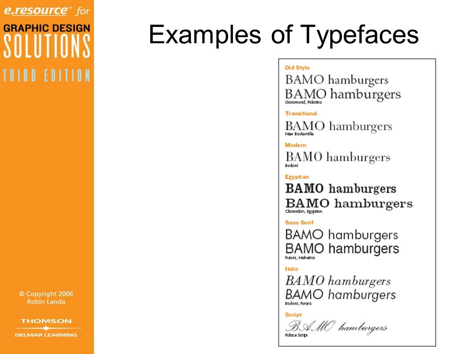 Examples of Typefaces