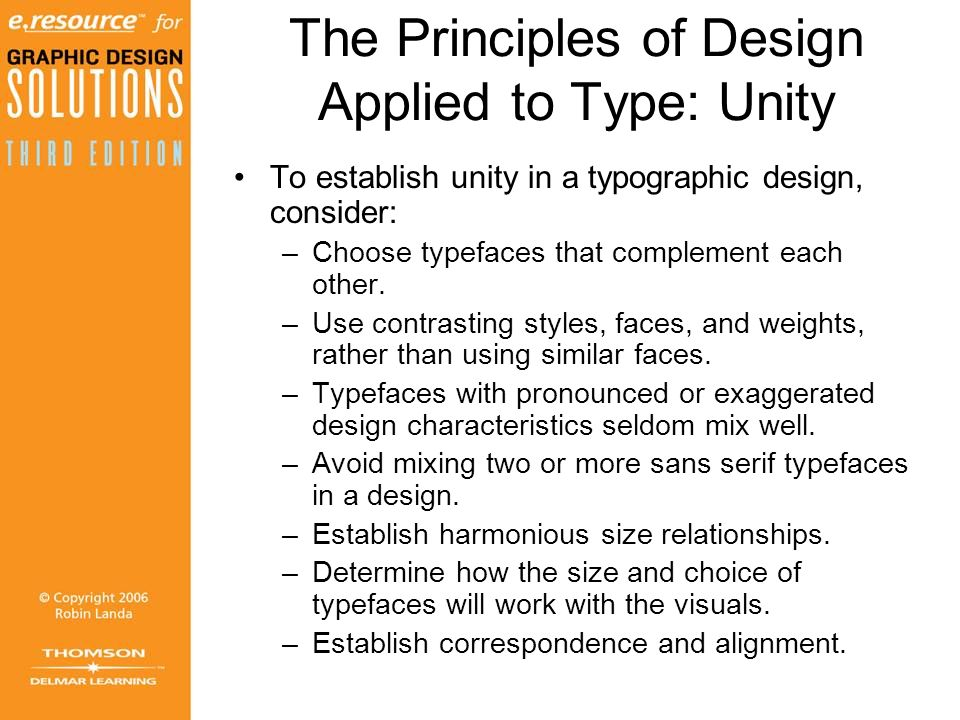 The Principles of Design Applied to Type: Unity