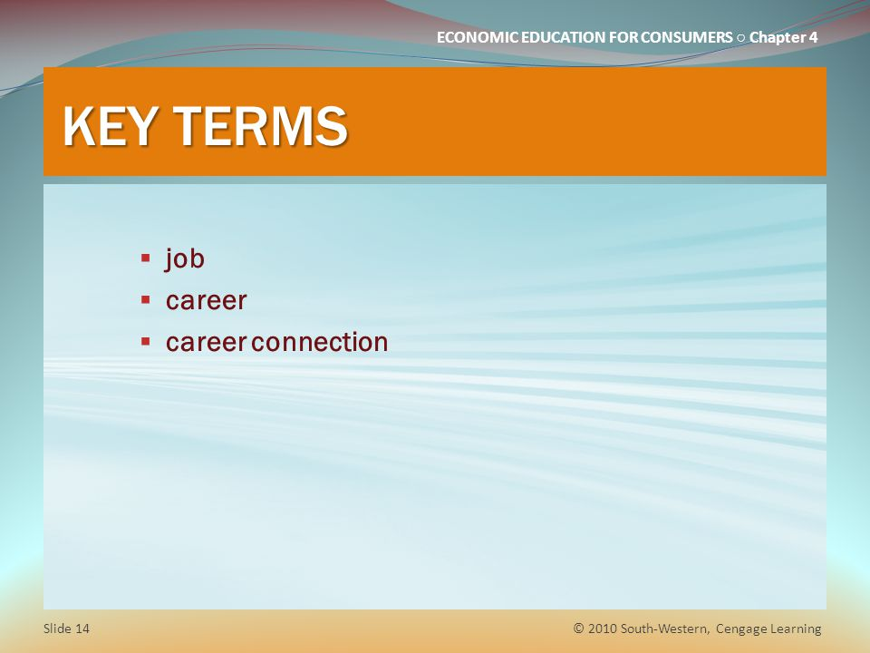 KEY TERMS job career career connection