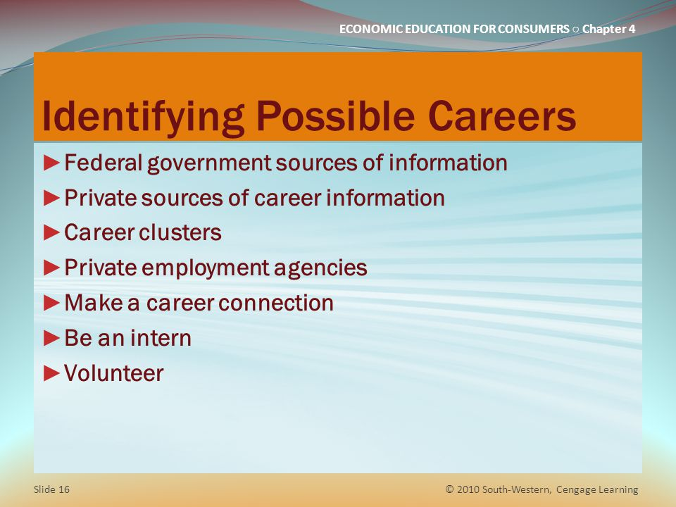 Identifying Possible Careers