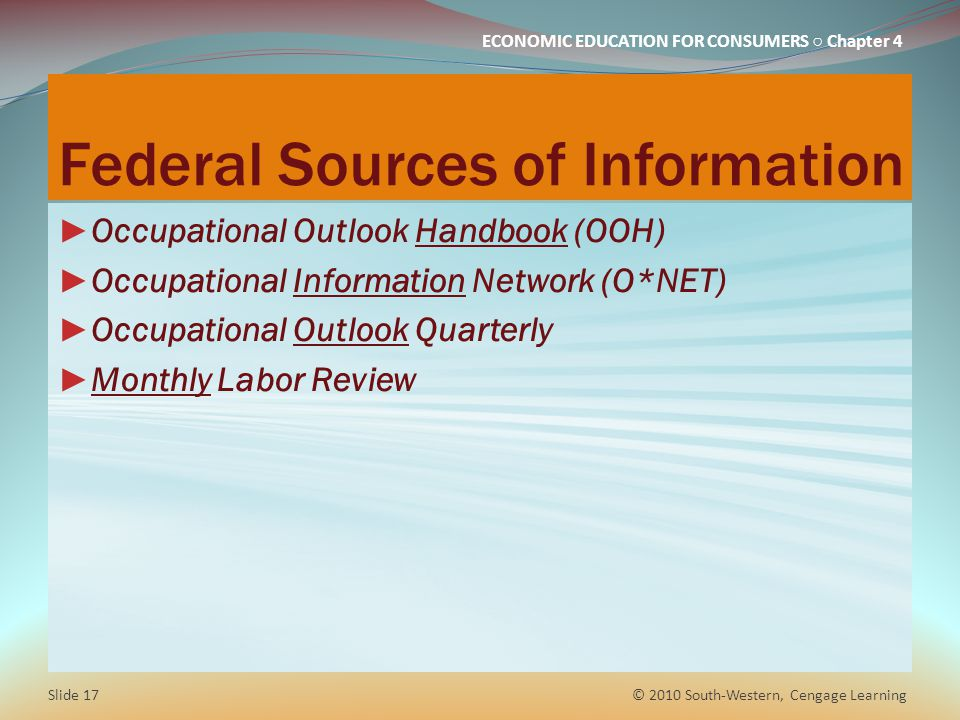 Federal Sources of Information