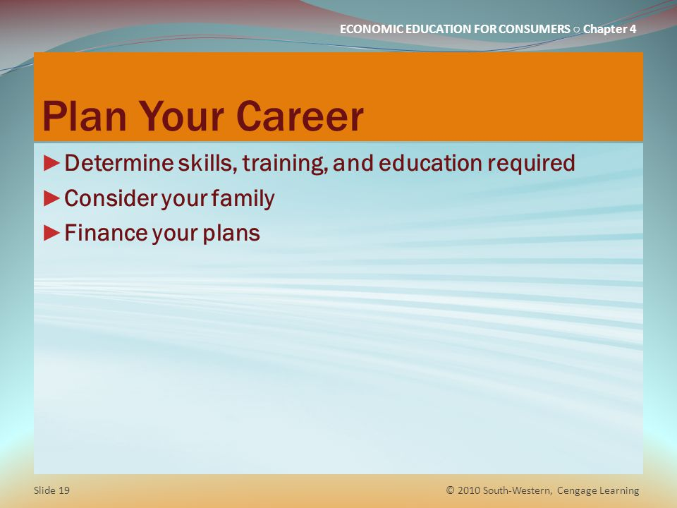 Plan Your Career Determine skills, training, and education required