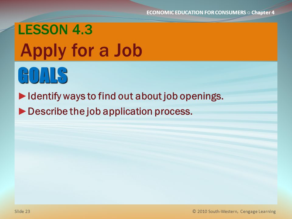 GOALS LESSON 4.3 Apply for a Job