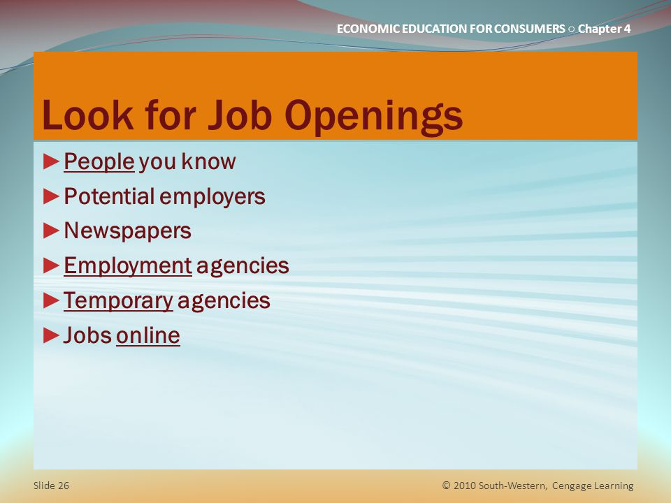 Look for Job Openings People you know Potential employers Newspapers