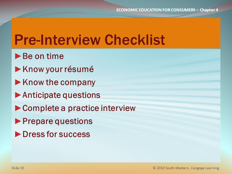 Pre-Interview Checklist