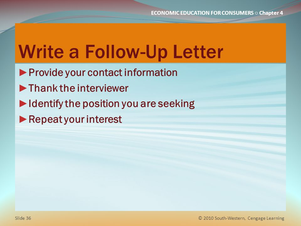 Write a Follow-Up Letter