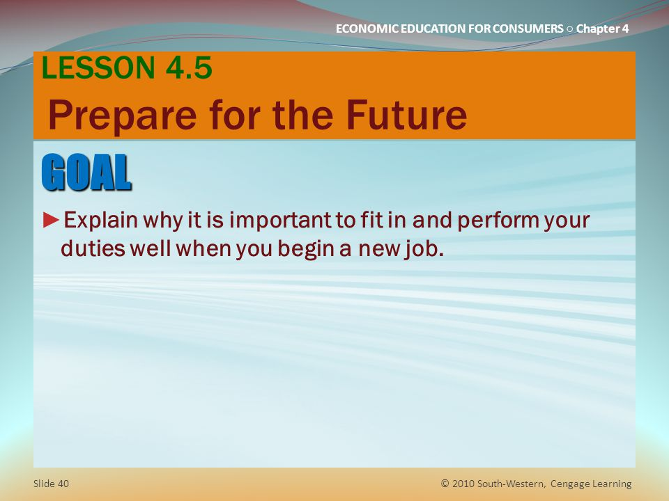 LESSON 4.5 Prepare for the Future