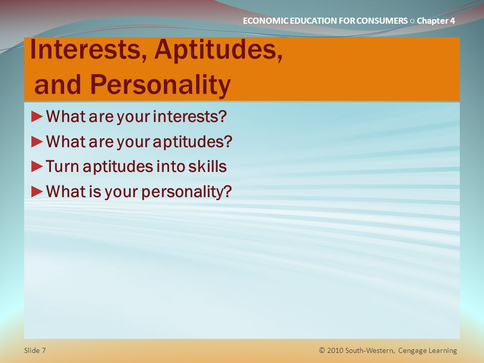 Interests, Aptitudes, and Personality