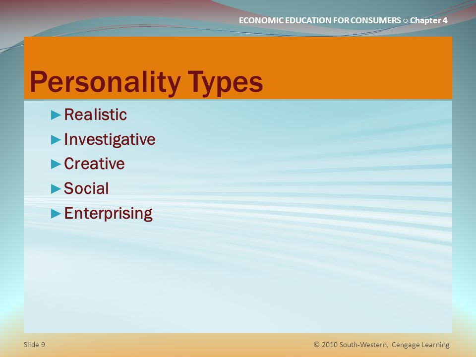 Personality Types Realistic Investigative Creative Social Enterprising