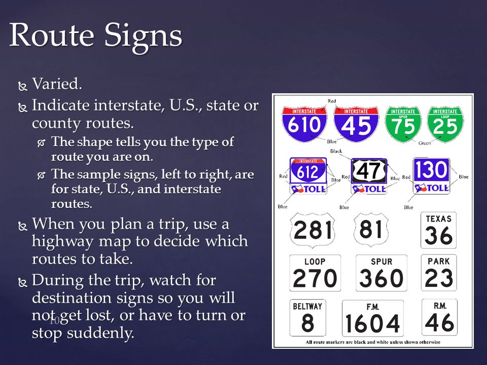 Route Signs Varied. Indicate interstate, U.S., state or county routes.