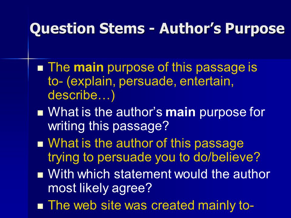 Text Analysis Author S Purpose And Main Idea