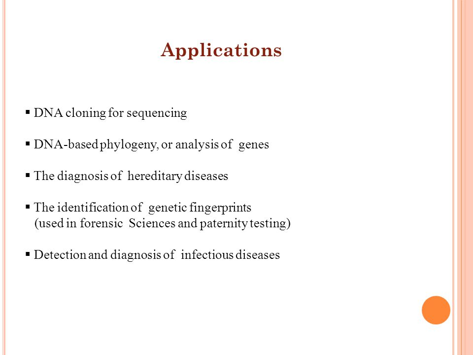 Applications DNA cloning for sequencing