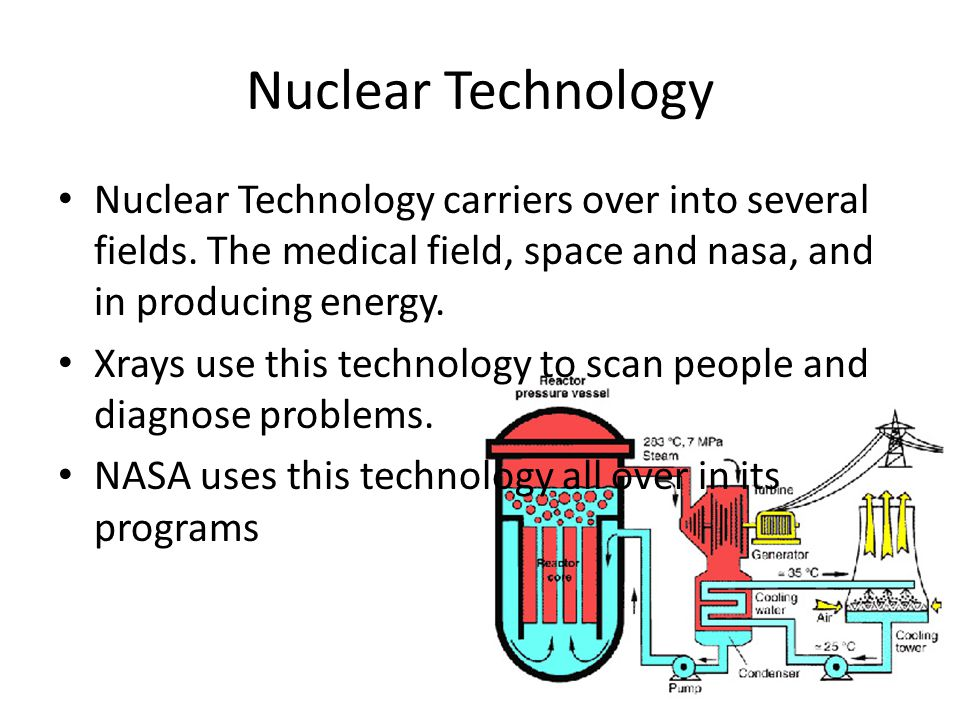 Nuclear Technology Nuclear Technology carriers over into several fields. The medical field, space and nasa, and in producing energy.
