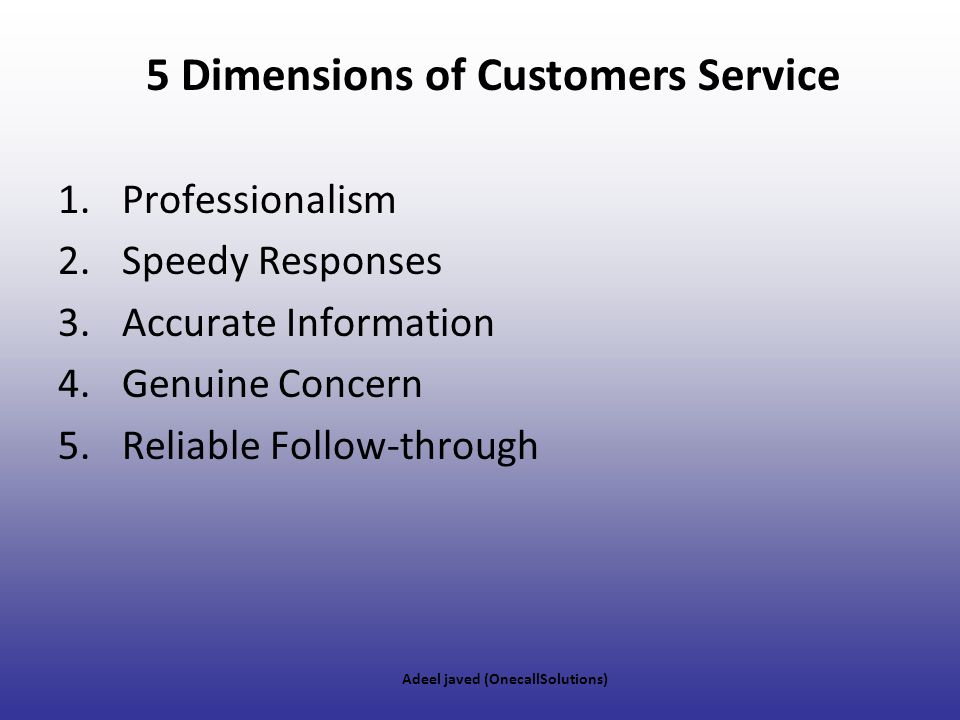 5 Dimensions of Customers Service