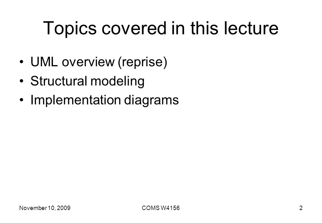 Topics covered in this lecture