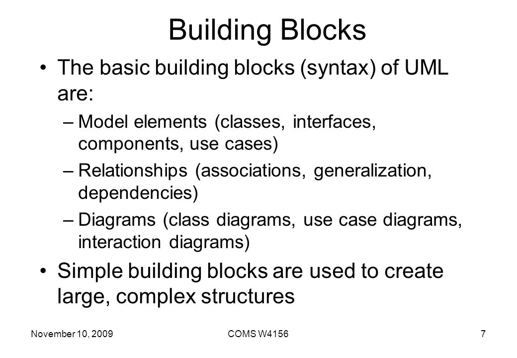 Building Blocks The basic building blocks (syntax) of UML are: