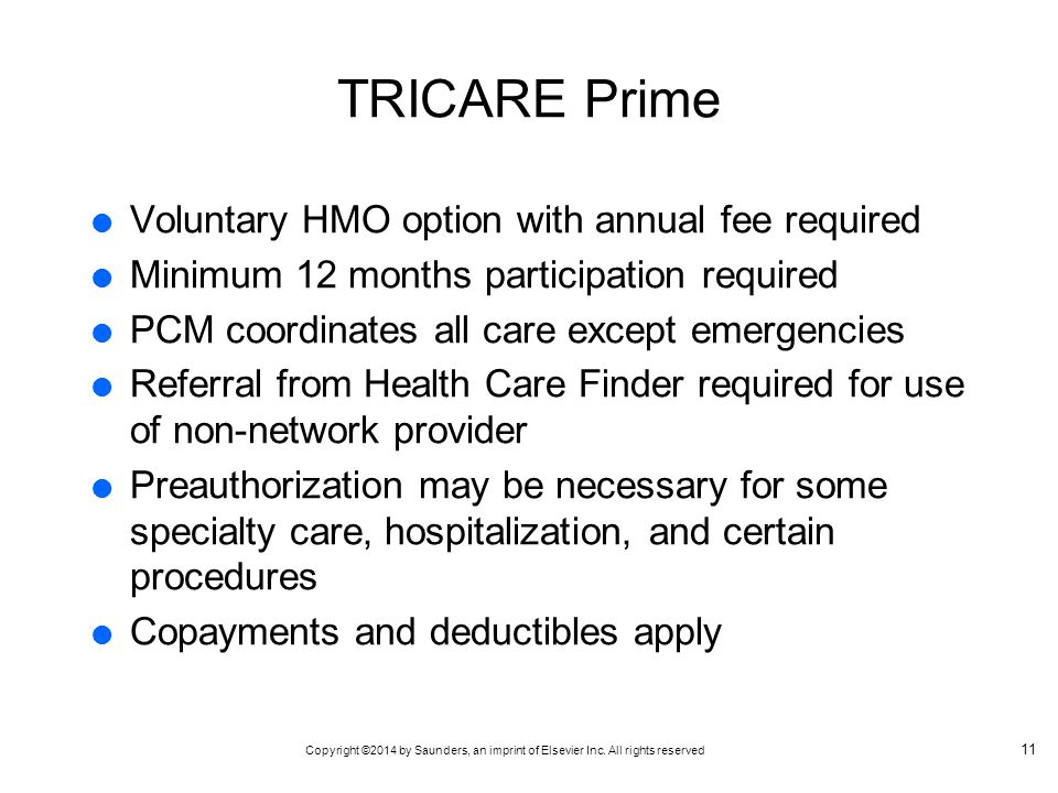 TRICARE Prime Voluntary HMO option with annual fee required