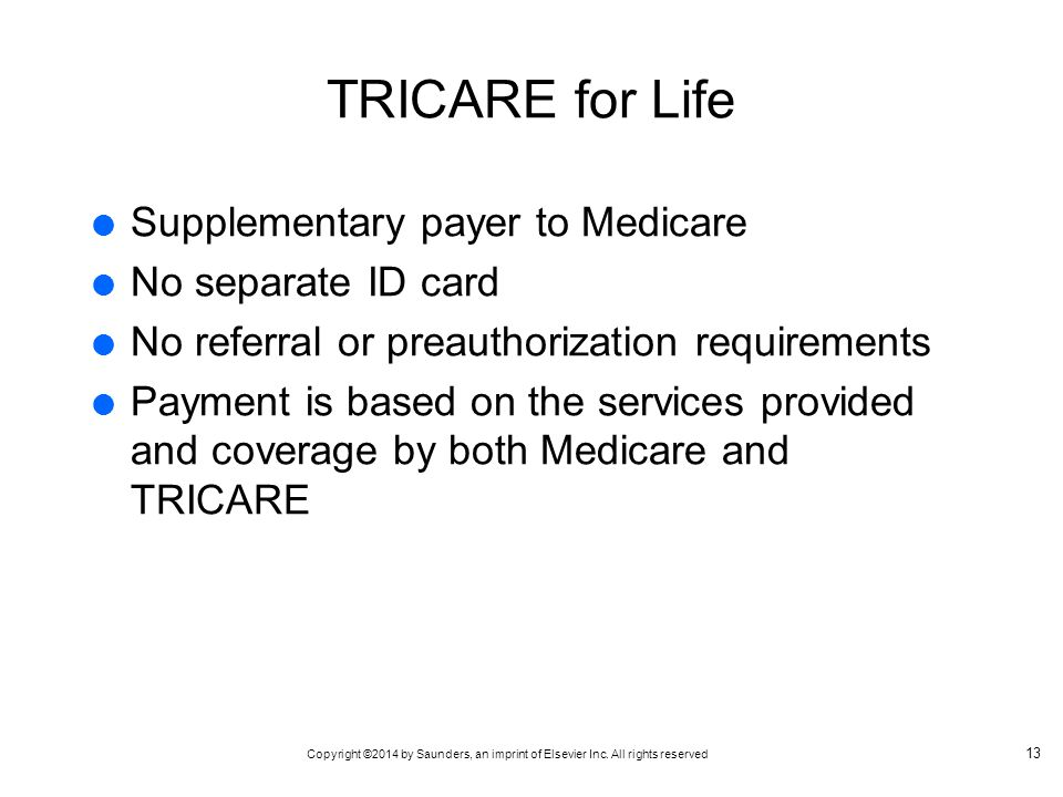 TRICARE for Life Supplementary payer to Medicare No separate ID card