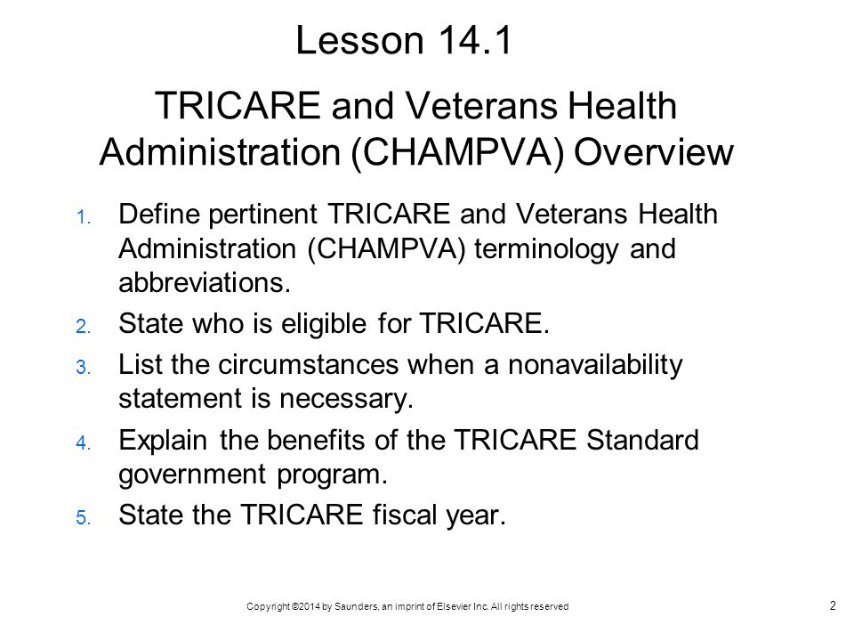 TRICARE and Veterans Health Administration (CHAMPVA) Overview