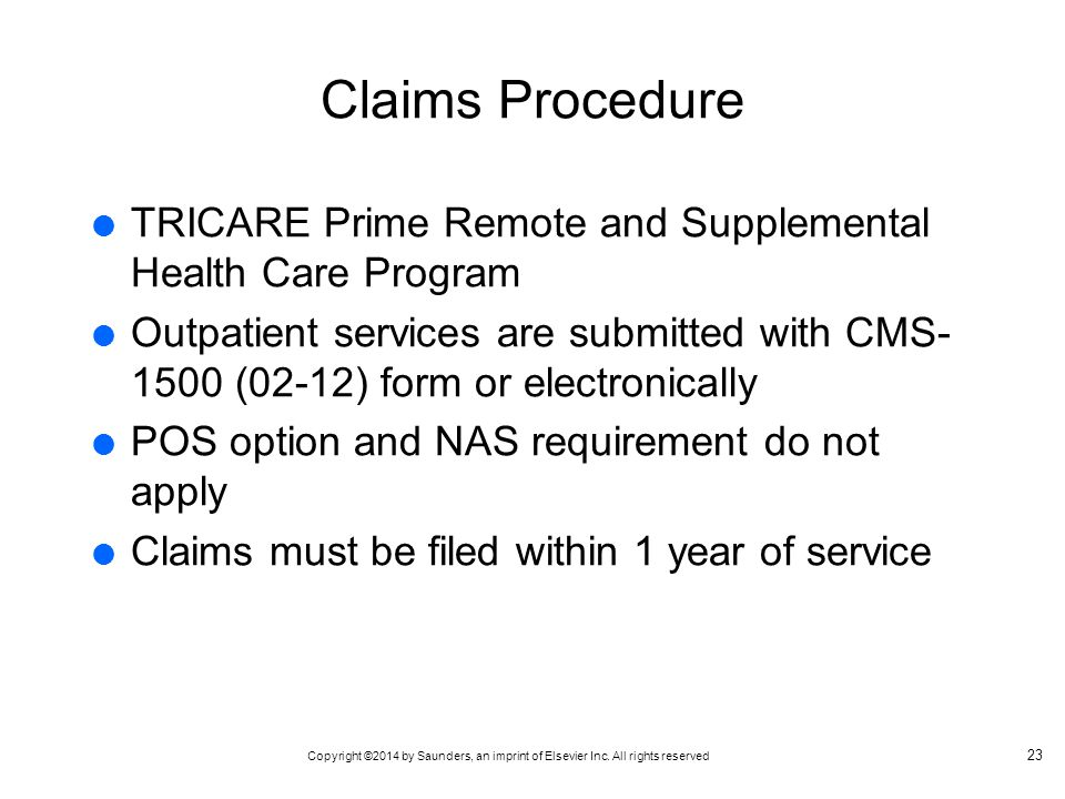 Claims Procedure TRICARE Prime Remote and Supplemental Health Care Program.