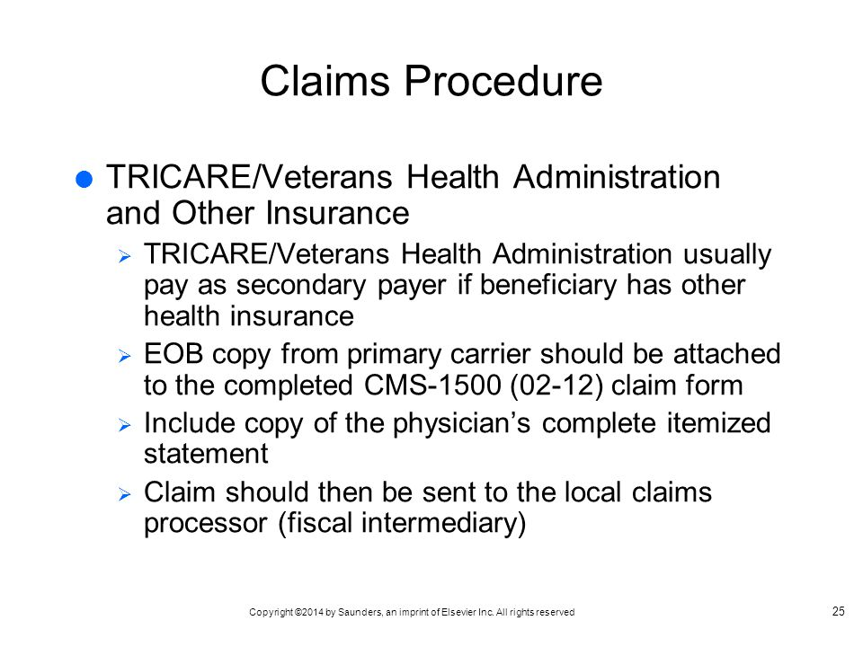 Claims Procedure TRICARE/Veterans Health Administration and Other Insurance.