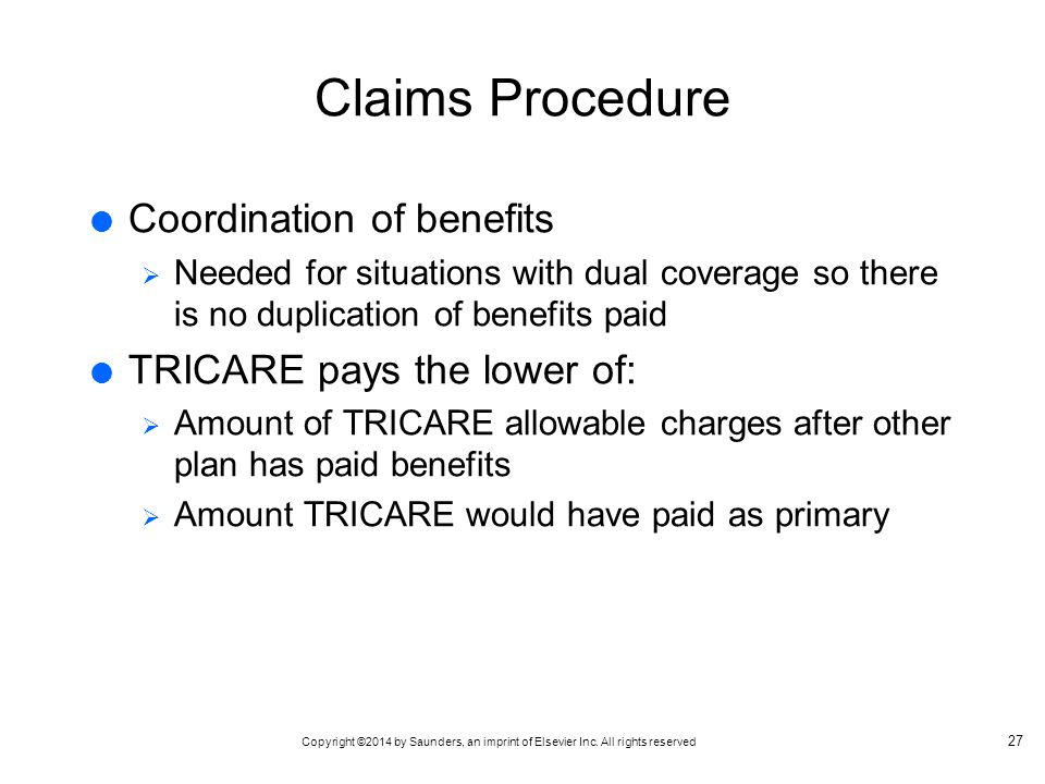 Claims Procedure Coordination of benefits TRICARE pays the lower of: