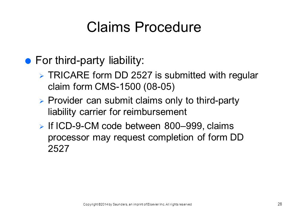 Claims Procedure For third-party liability: