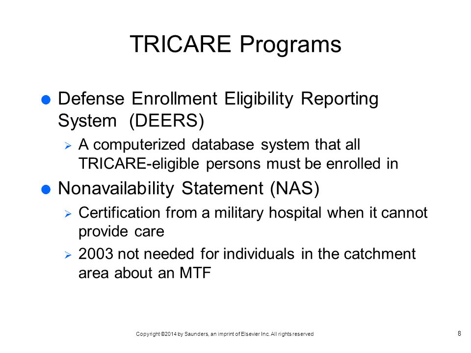 TRICARE Programs Defense Enrollment Eligibility Reporting System (DEERS)