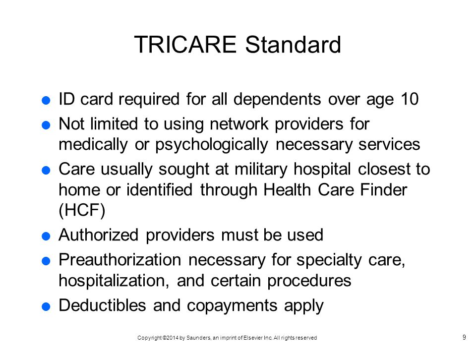 TRICARE Standard ID card required for all dependents over age 10