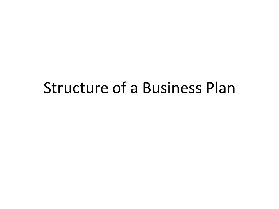 structure of the business plan