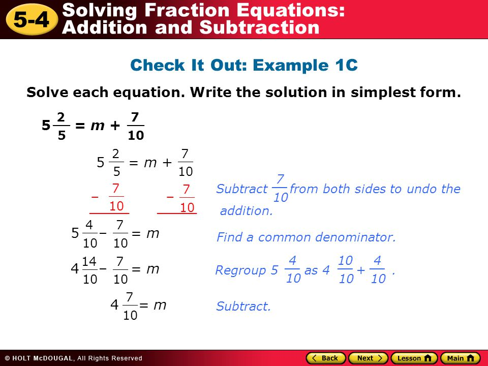 simplest form equation  Warm Up Problem of the Day Lesson Presentation Lesson ...