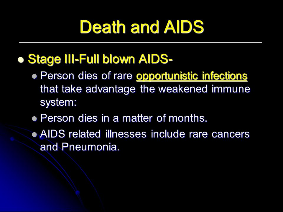 Death and AIDS Stage III-Full blown AIDS-