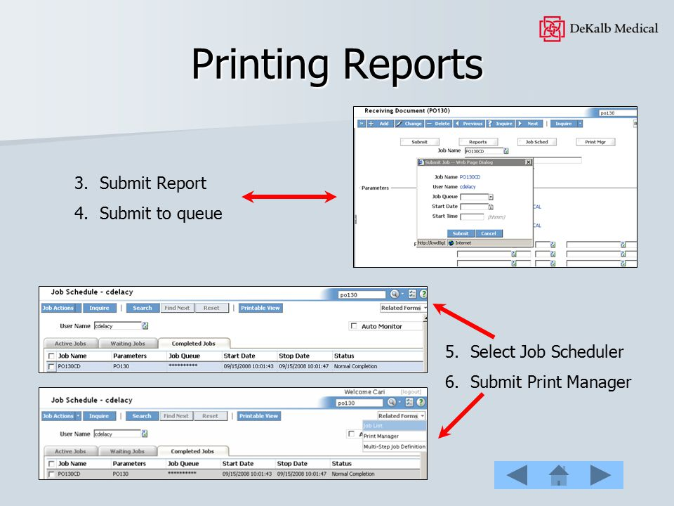 Printing Reports Submit Report Submit to queue Select Job Scheduler