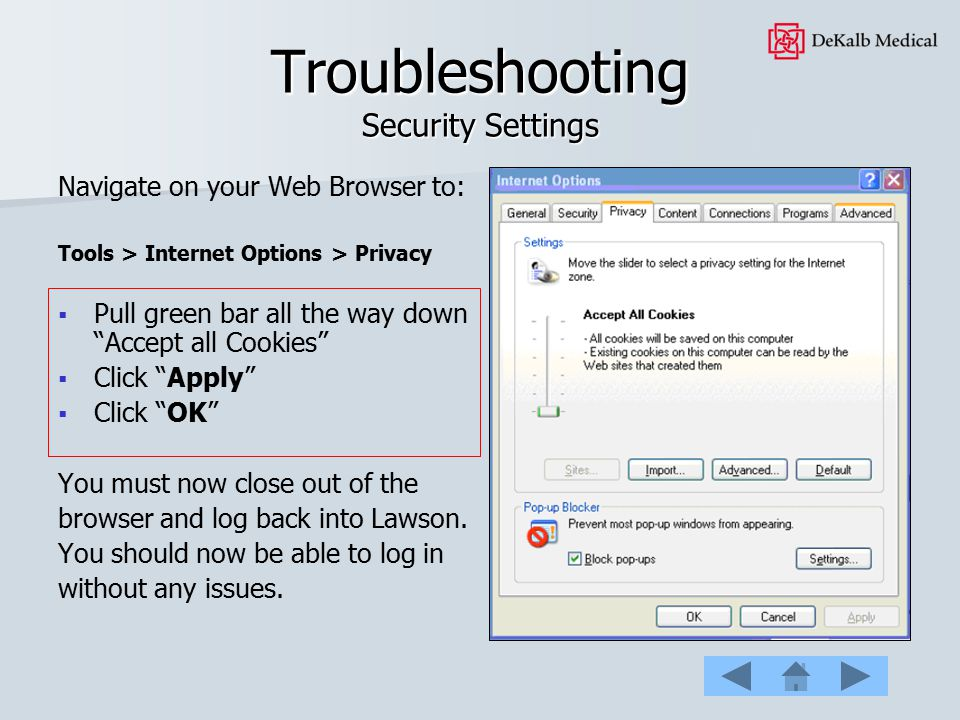 Troubleshooting Security Settings