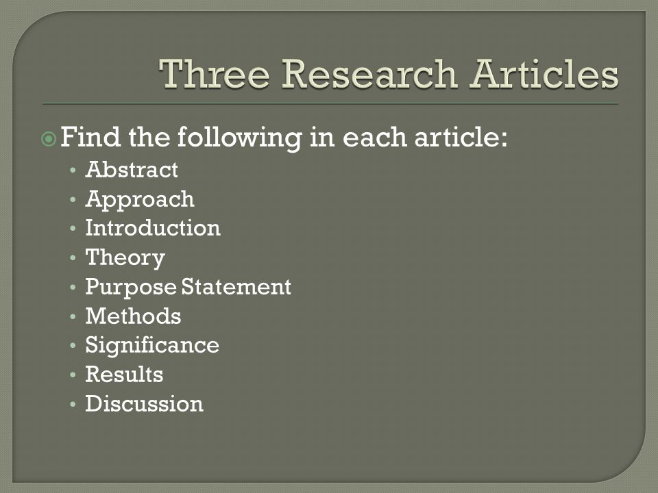 Three Research Articles