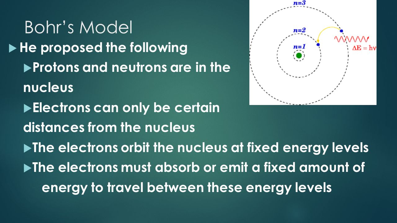 Bohr's Model He proposed the following Protons and neutrons are in the