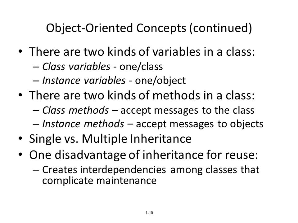 Object-Oriented Concepts (continued)