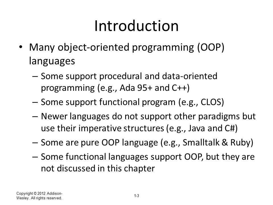 Introduction Many object-oriented programming (OOP) languages