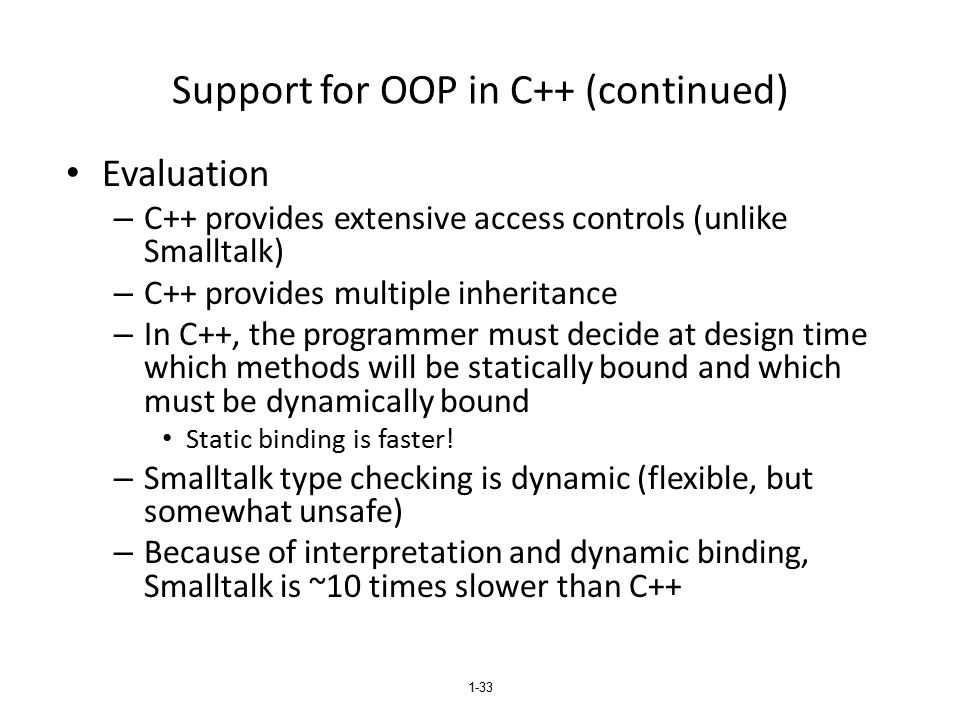 Support for OOP in C++ (continued)