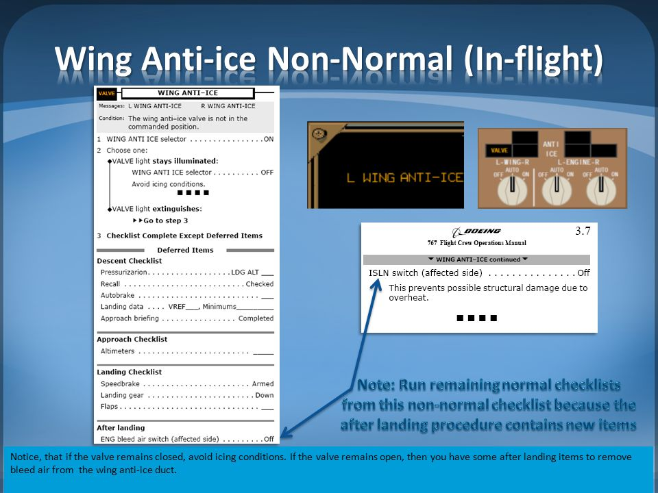 Wing Anti-ice Non-Normal (In-flight)