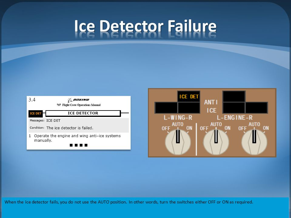 Ice Detector Failure When the ice detector fails, you do not use the AUTO position.