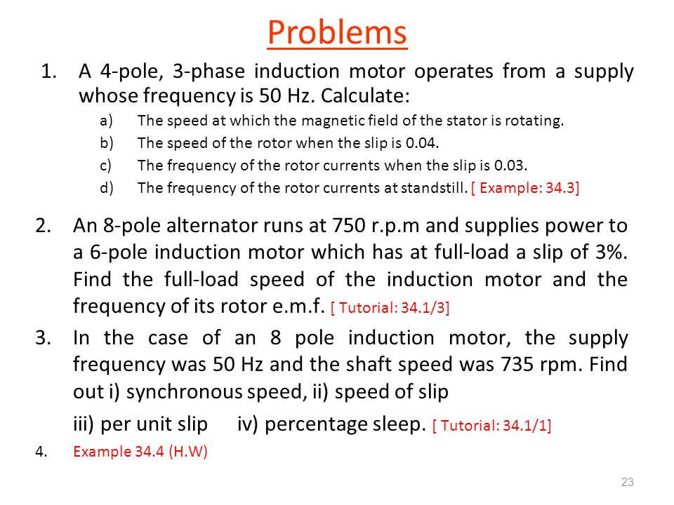 Problems 1 A 4 Pole 3 Phase Induction Motor Operates From. Electrical Machine Ii Ppt Online