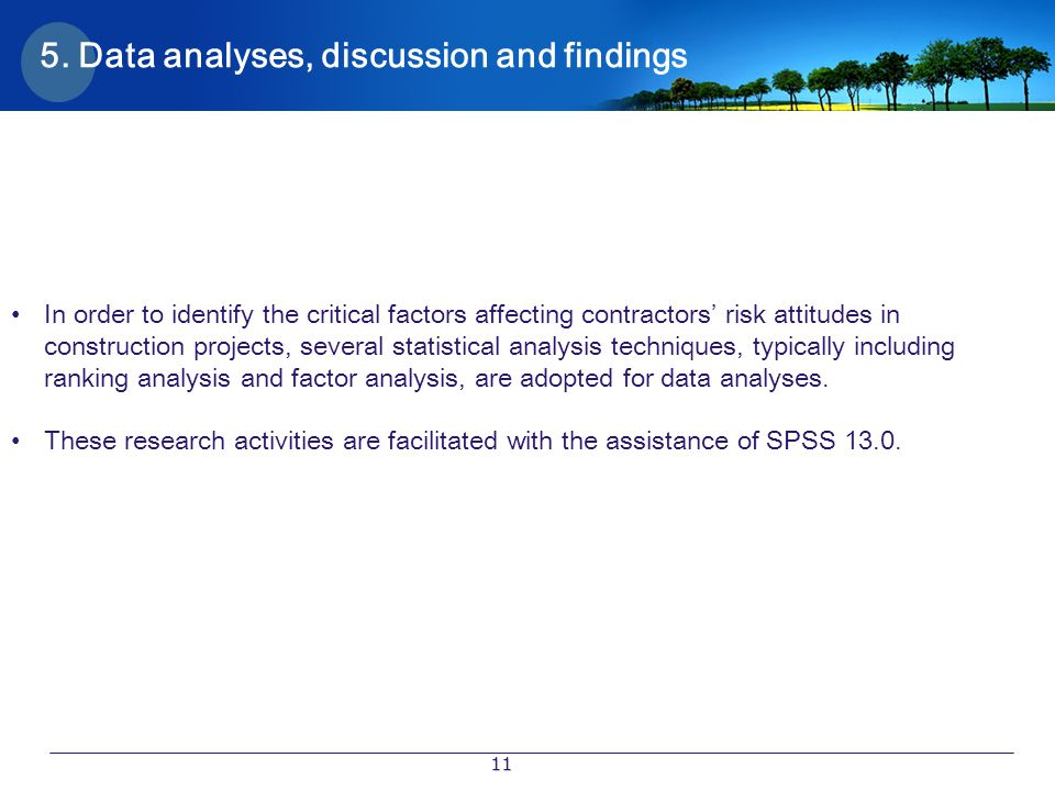 5. Data analyses, discussion and findings