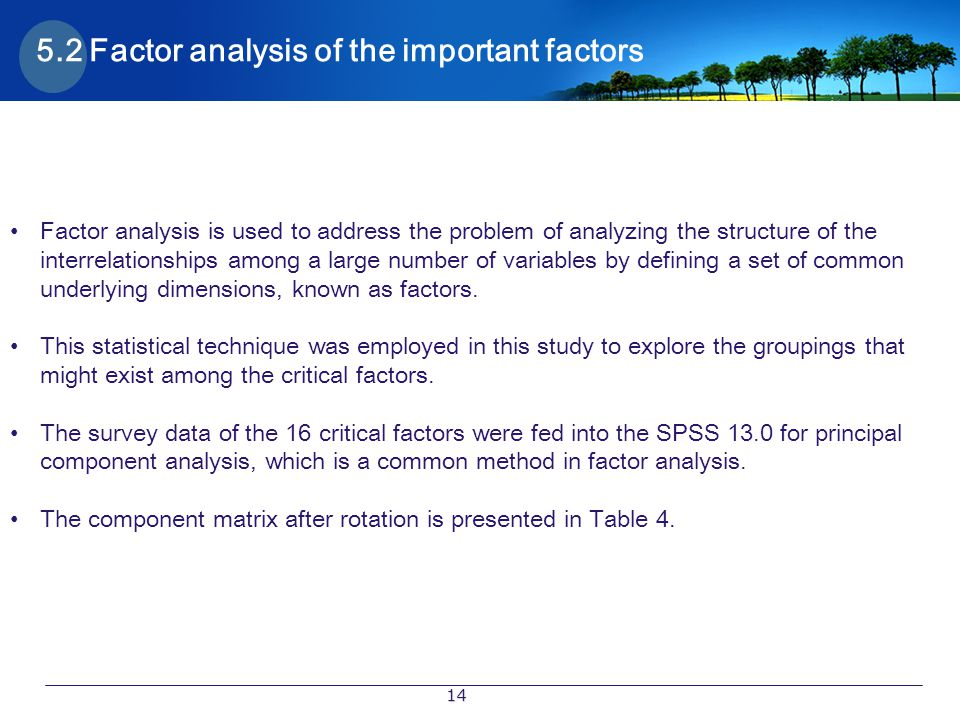 5.2 Factor analysis of the important factors
