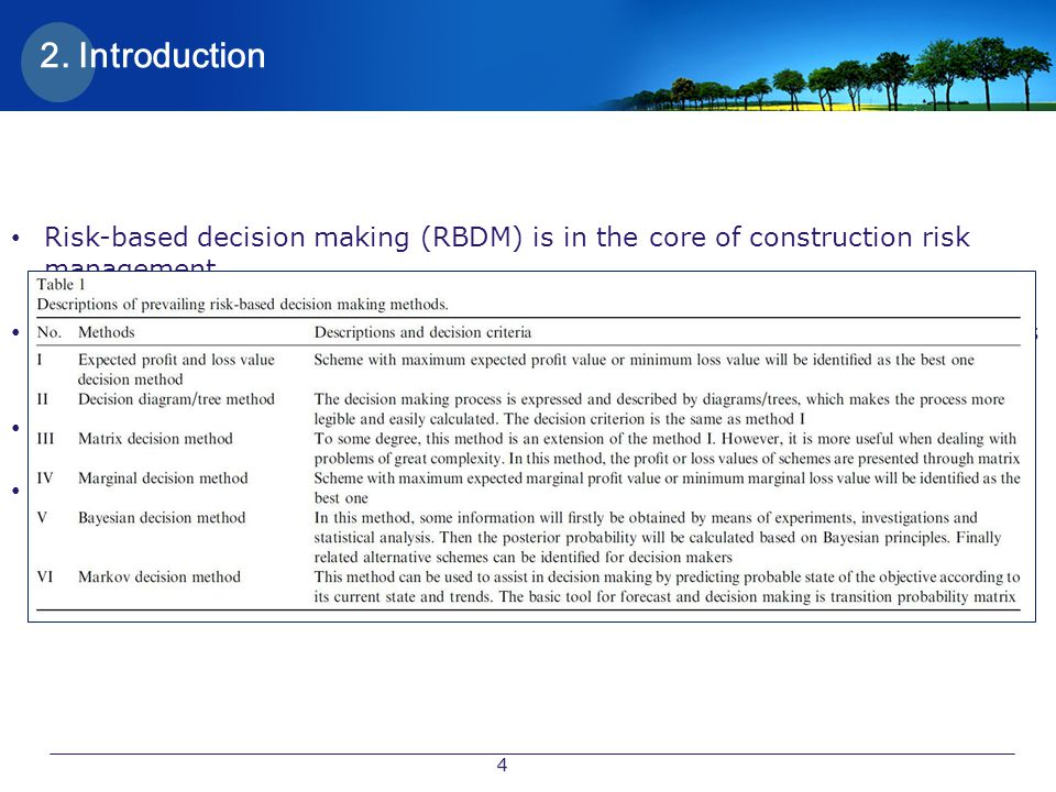 2. Introduction Risk-based decision making (RBDM) is in the core of construction risk management.