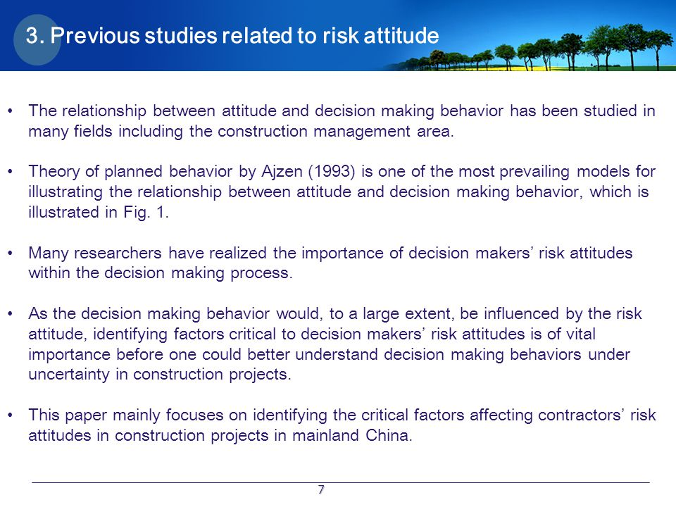 3. Previous studies related to risk attitude